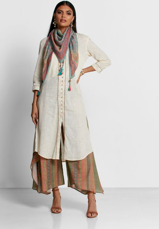 Button Detail Kurti & Palazzo Set With Scarf