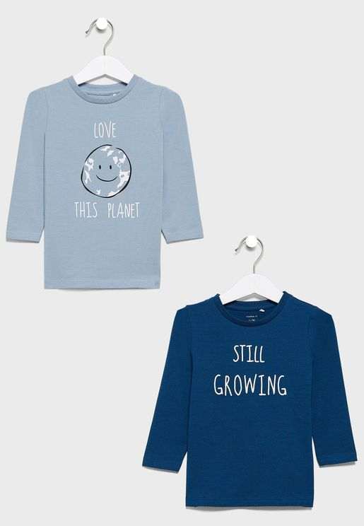 Infant 2 Pack Slogan T-Shirt