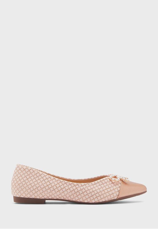 Quilted Pointed Flat Shoe With Pearl Bow