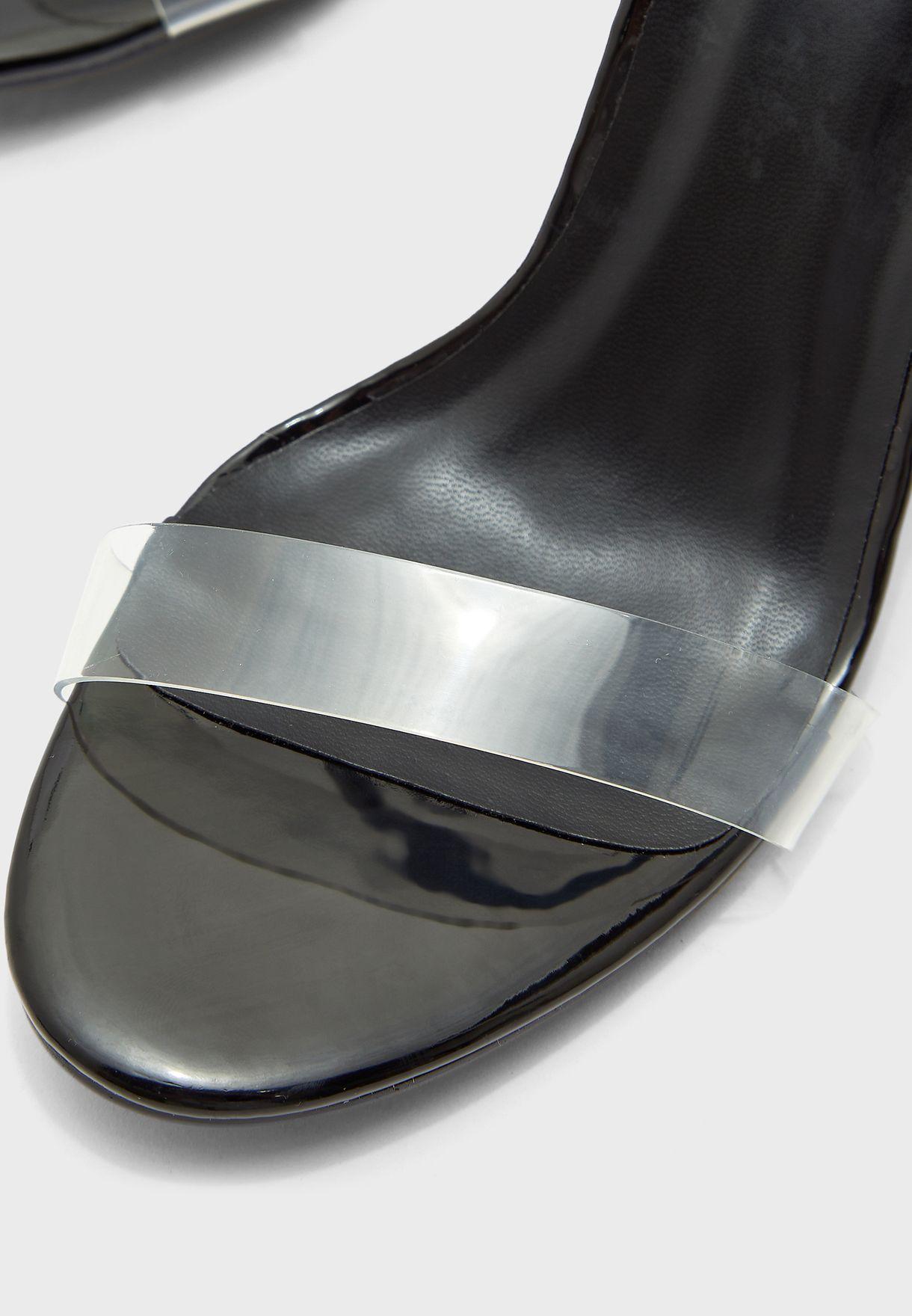 Clear Perspex Block Heel Sandals