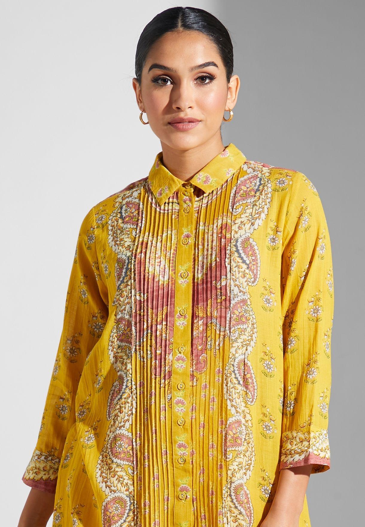 Collar Detail Printed Kurti