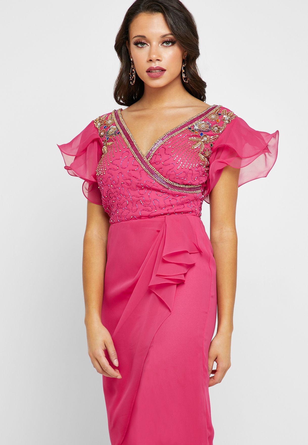 Olympia Embellished Wrap Dress