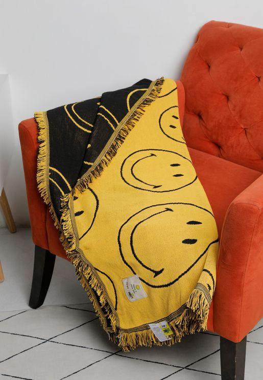 بطانية مزينة بطباعة سمايلي