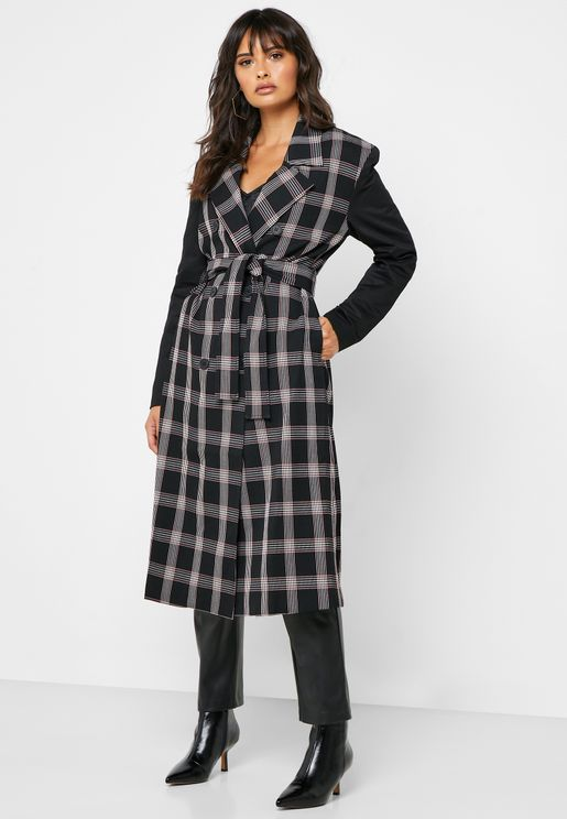 Tie Waist Double Breasted Checked Coat