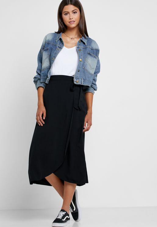 Side Tie Wrap Skirt