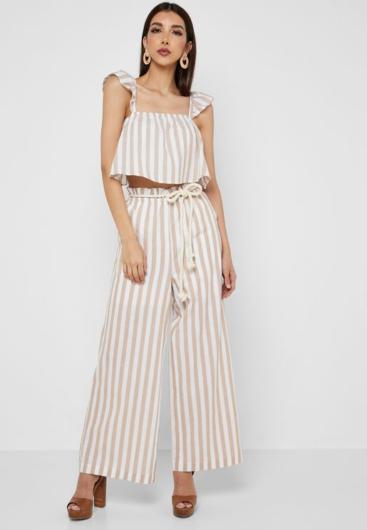 Striped Wide Leg Rope Belted Pants
