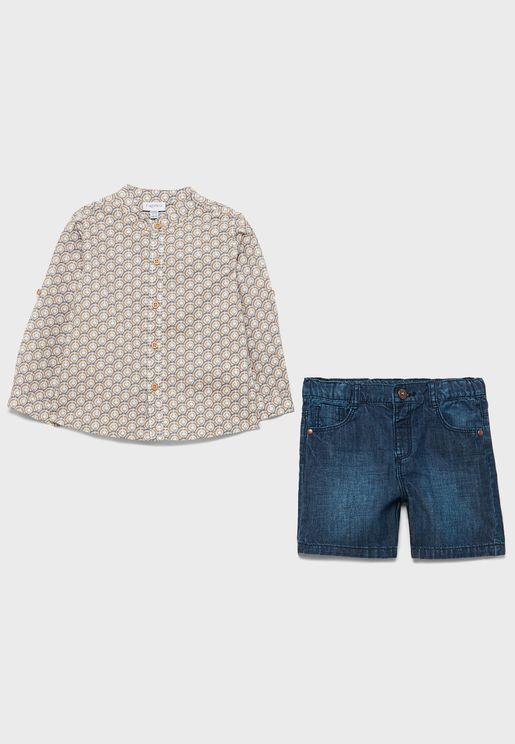 طقم قميص مطبع + شورت جينز