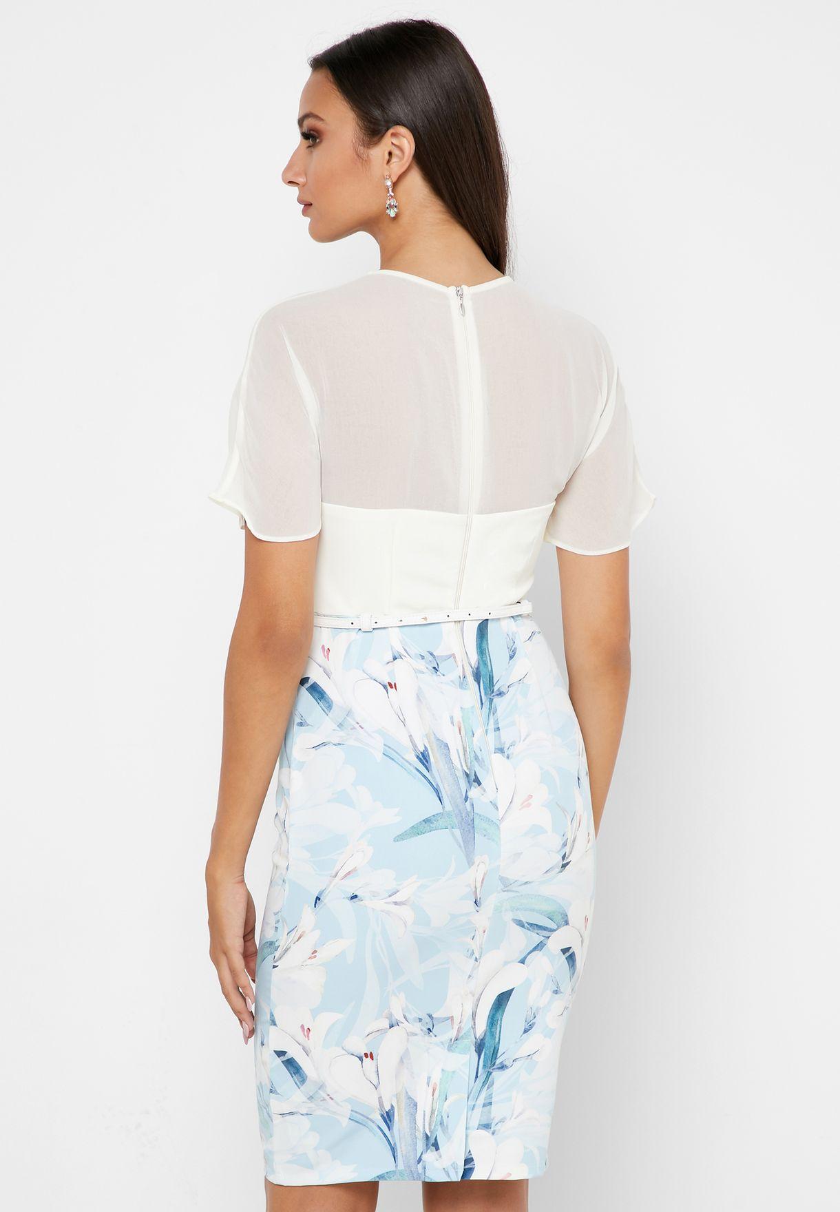 Sheer Sleeve Printed Dress
