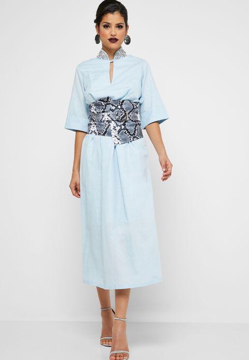 Snake Print Corset Embellished Dress