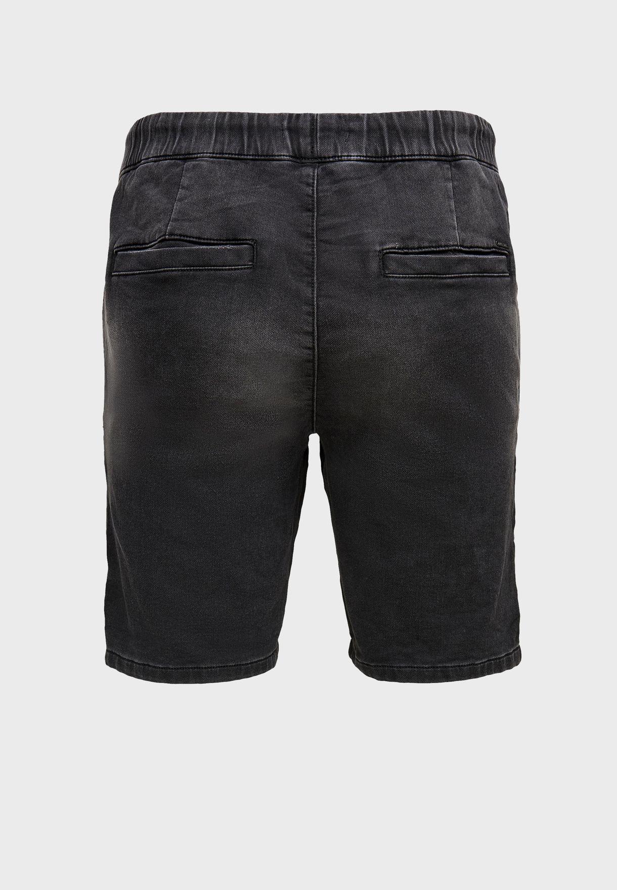 Drawstring Distressed Denim Shorts