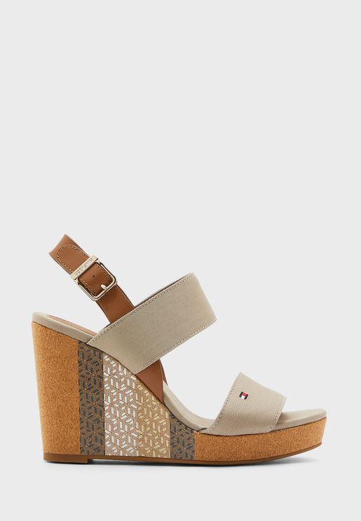 Monogram Cork High Heel Wedge Sandal