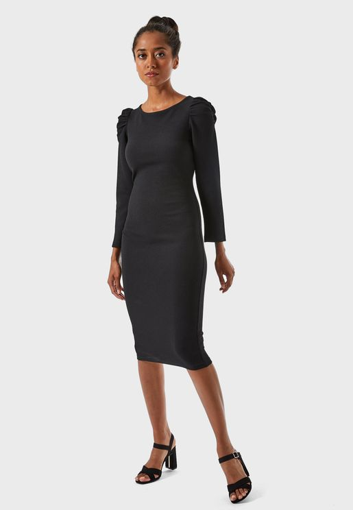 Ruched Detail Bodycon Dress