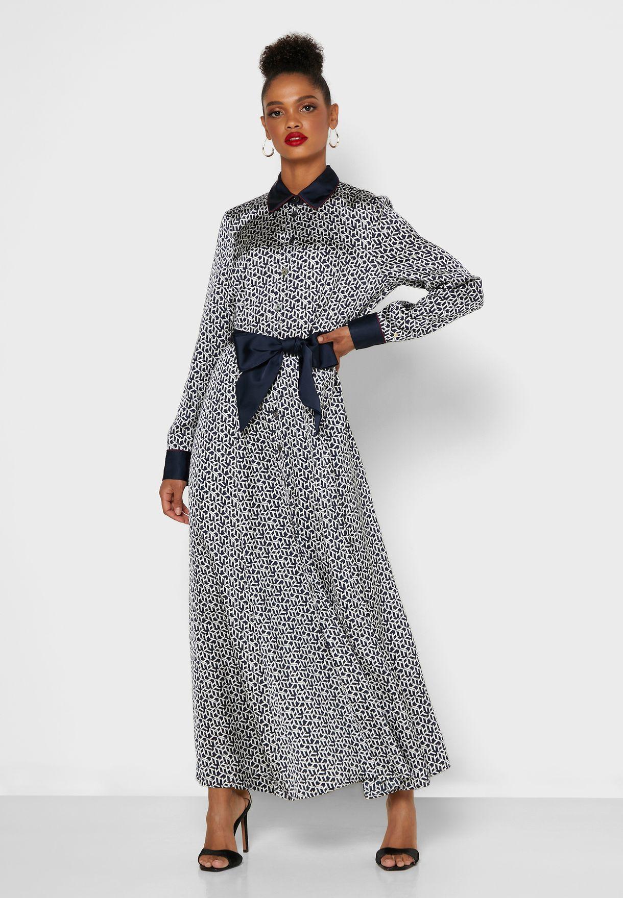 Contrast Trim Printed Shirt Dress