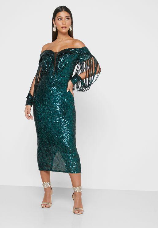 فستان بترتر واكمام شفافة