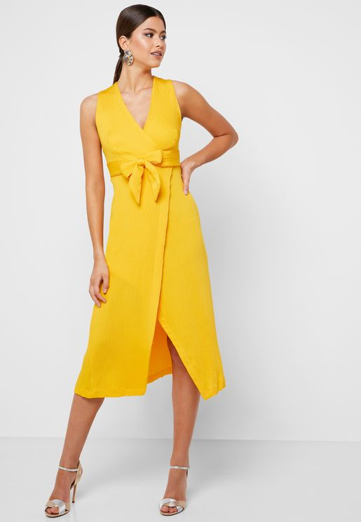 Bow Front Surplice Maxi Dress