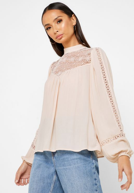 Pleated Detail Crochet Top
