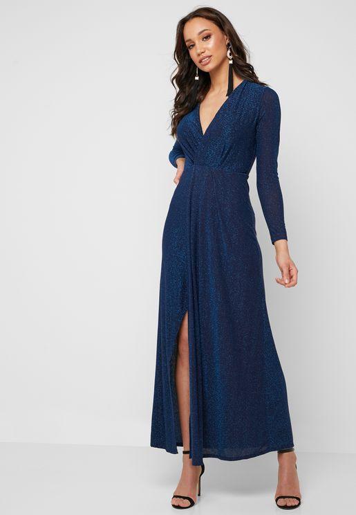 فستان لامع بنمط لف