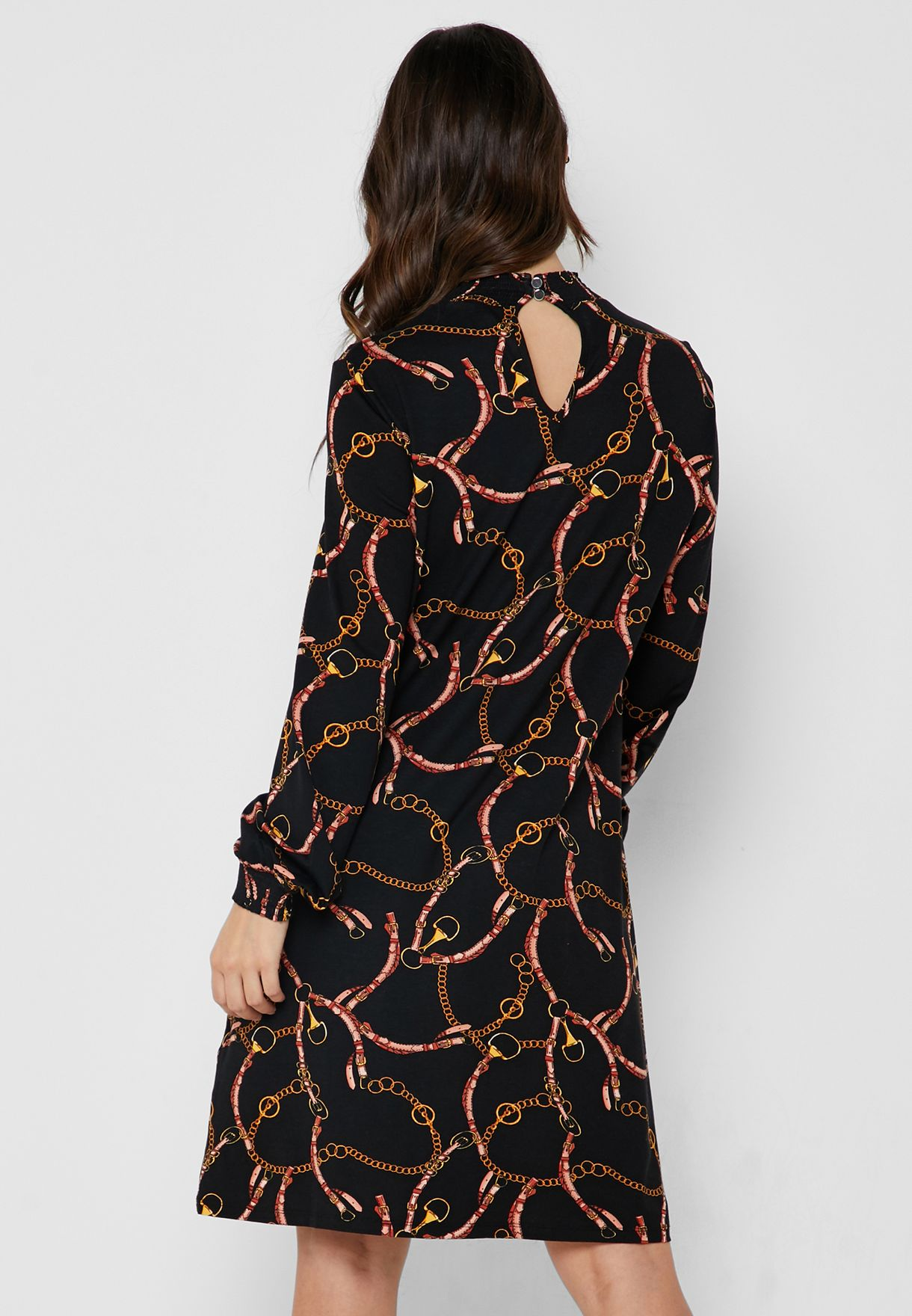 Printed High Neck Dress