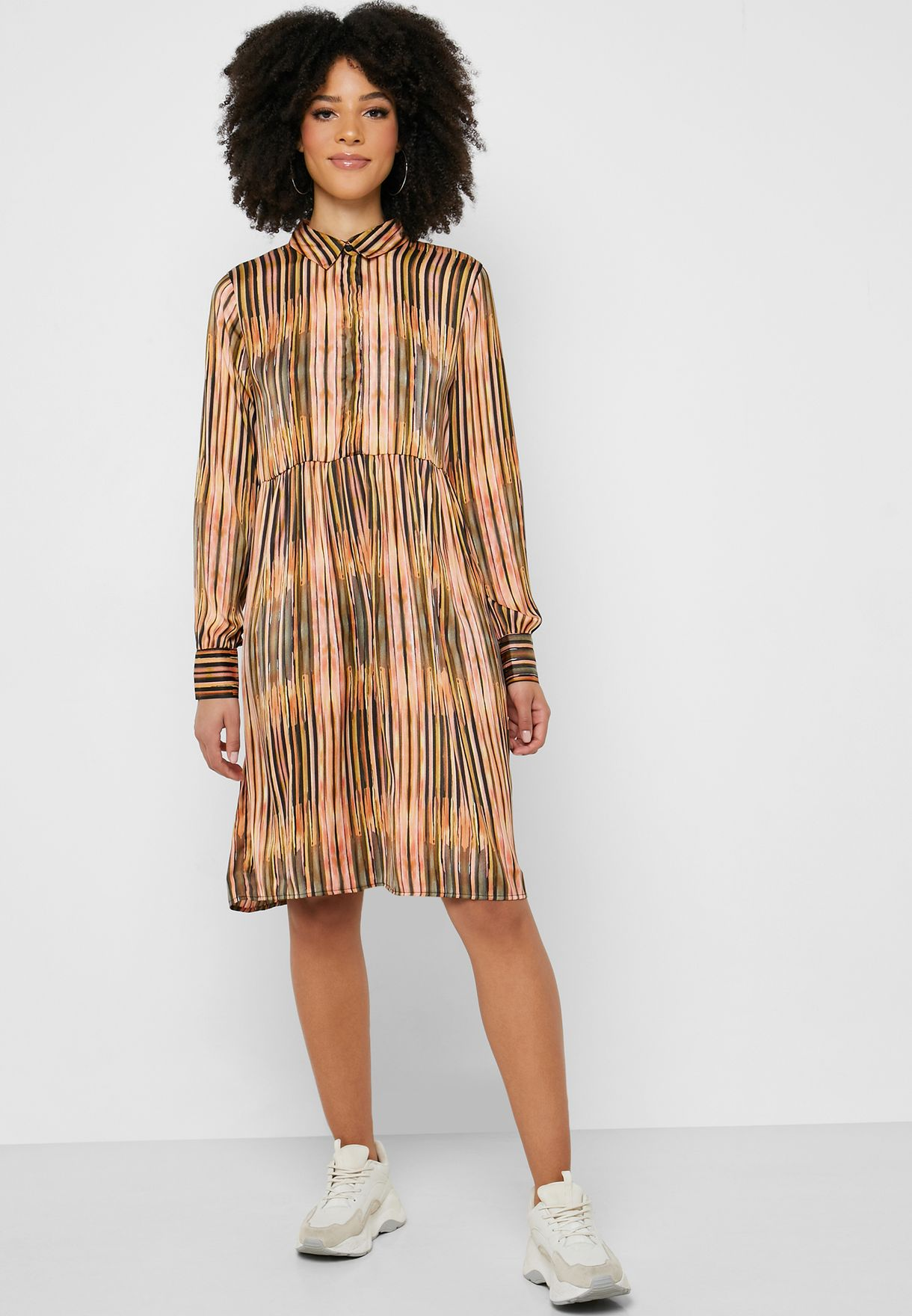 Pleated Long Sleeve Shirt Dress