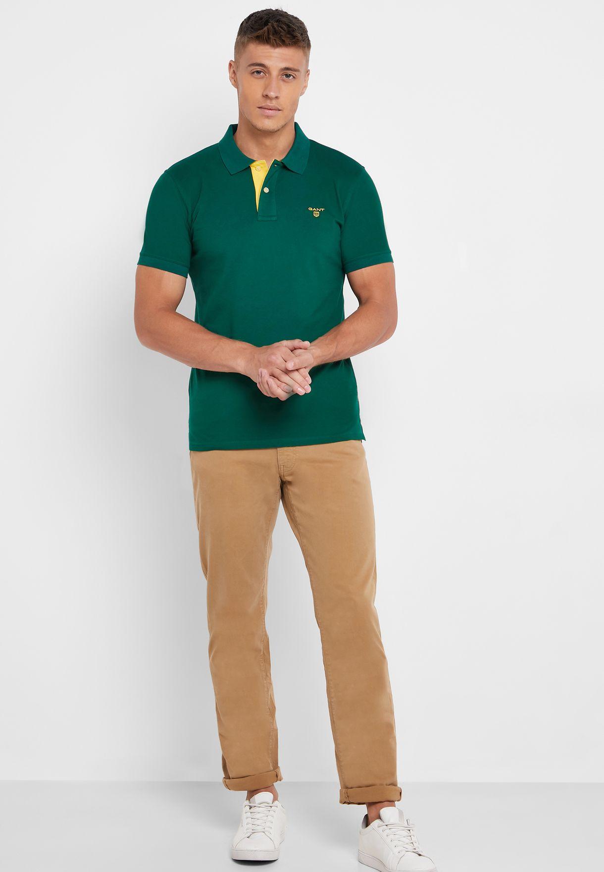 Contrast Collar Pique Polo