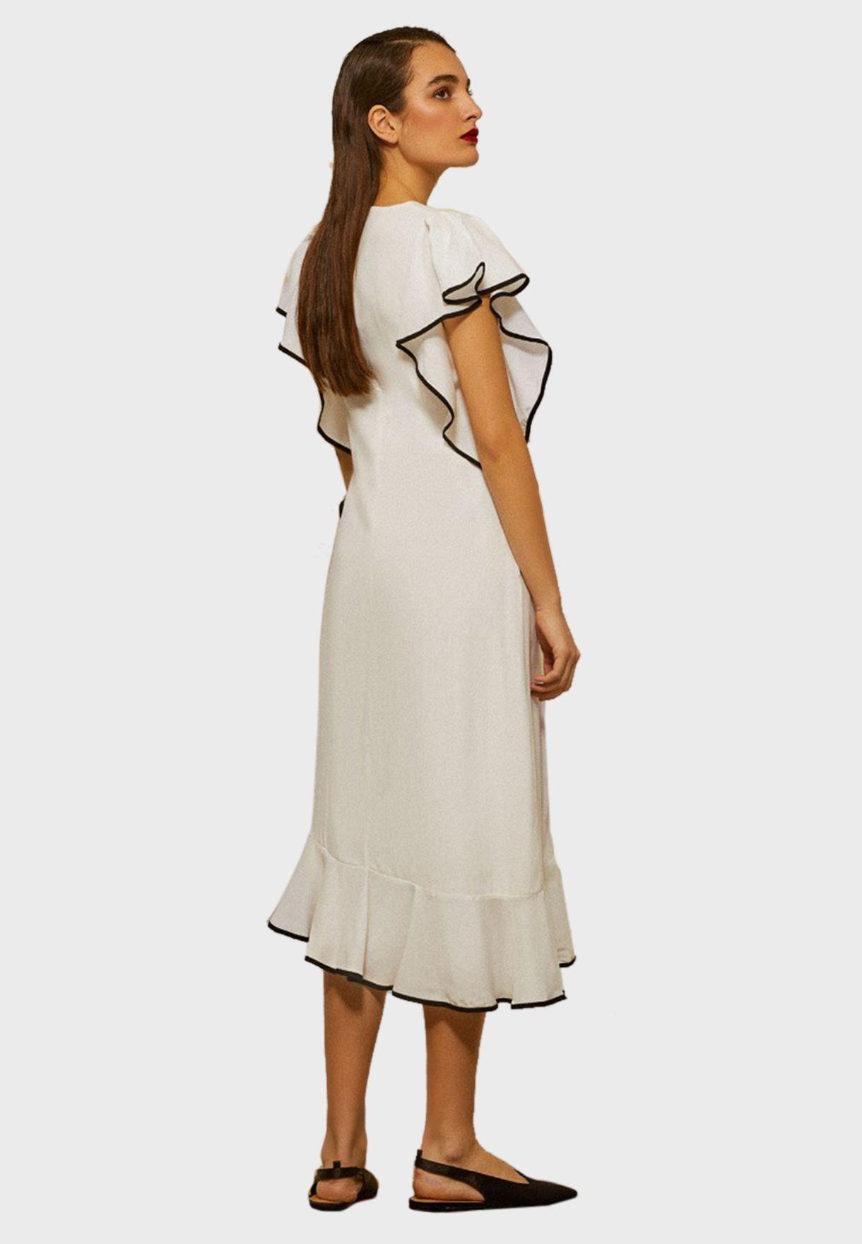 Piping Detail Ruffle Dress