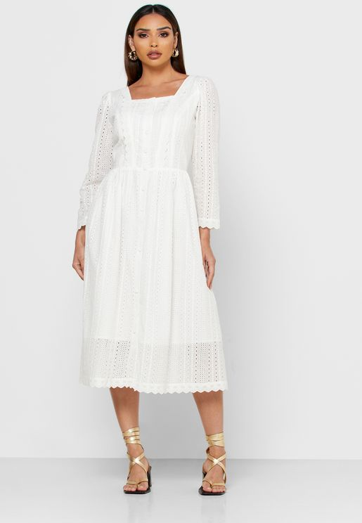 Square Neck Mesh Sleeve Dress
