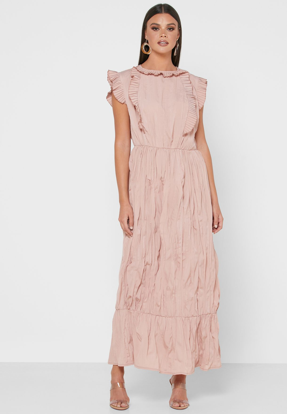 Ruffle Shoulder Tiered Midi Dress