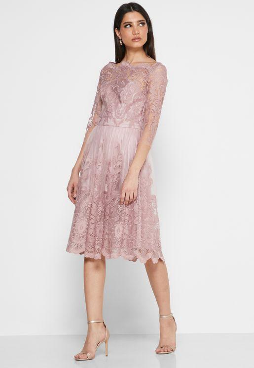 Scallop Detail Lace Skater Dress