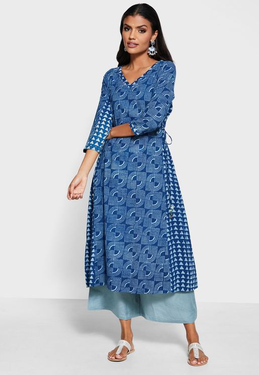 Panelled V Neck Cotton Kurta