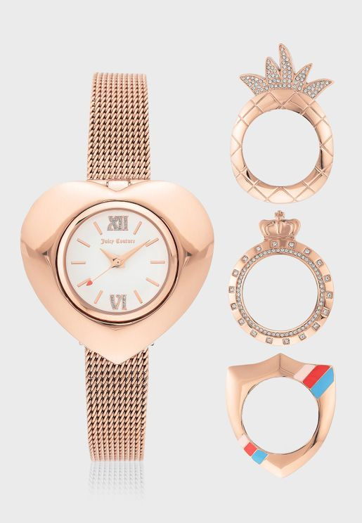 Mesh Strap Analog Watch+Rings Set