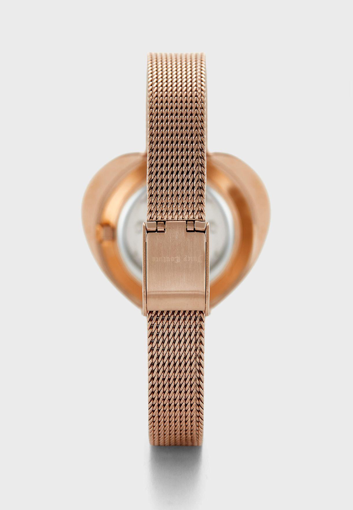 Mesh Strap Analog Watch+Rings Set