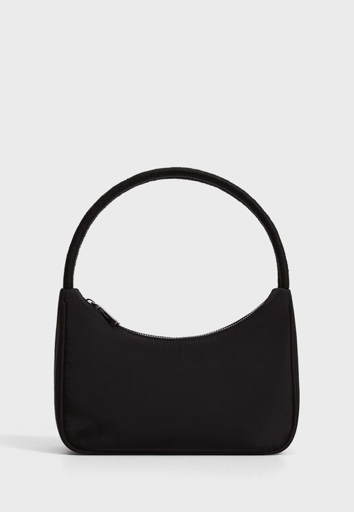 Twisted strap baguette bag