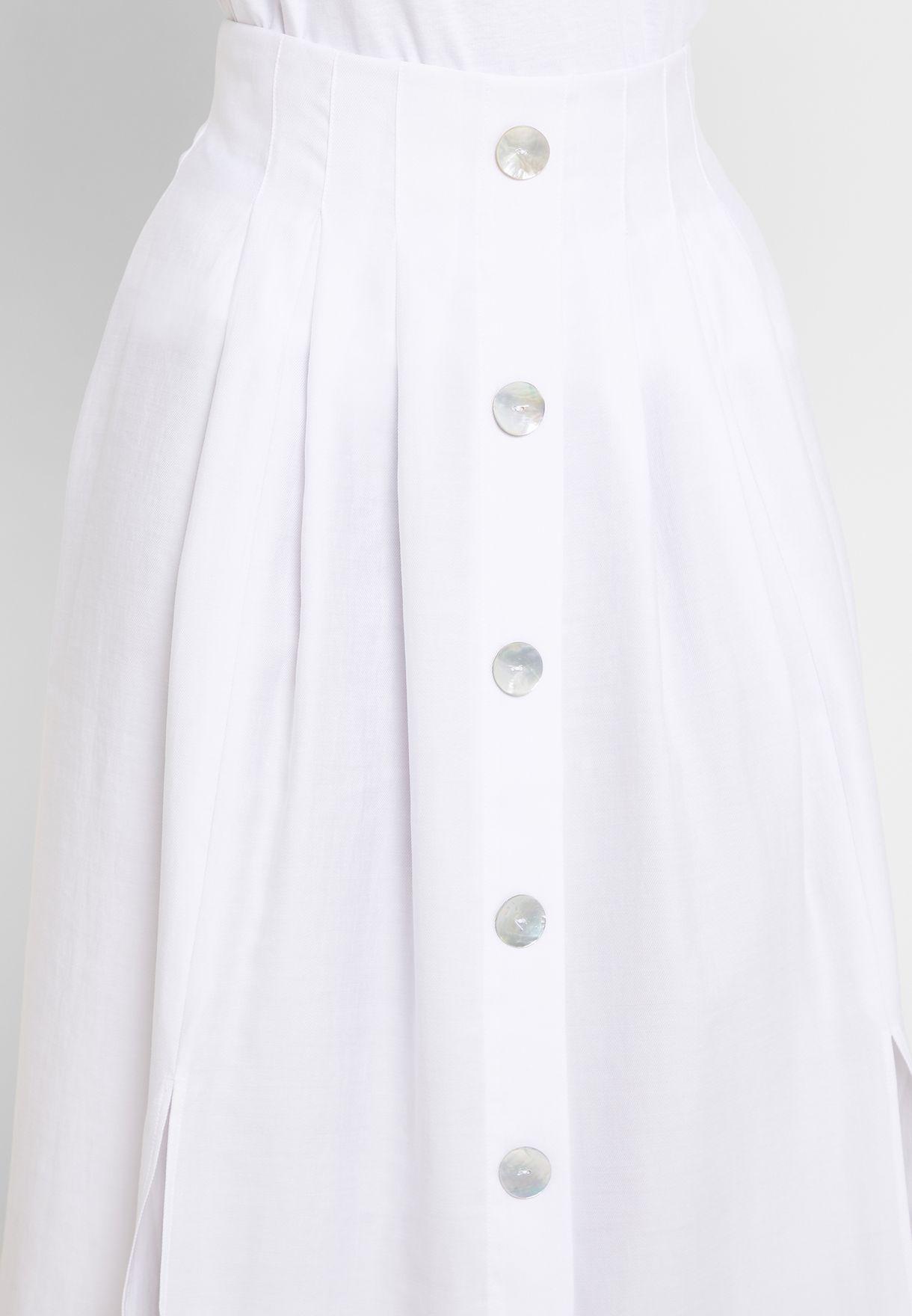 Side Split Button Through Skirt