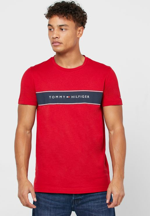 Chest Stripe Logo Crew Neck T-Shirt