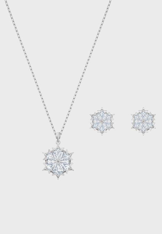 Magic Snowflake Necklace+Earrings Set