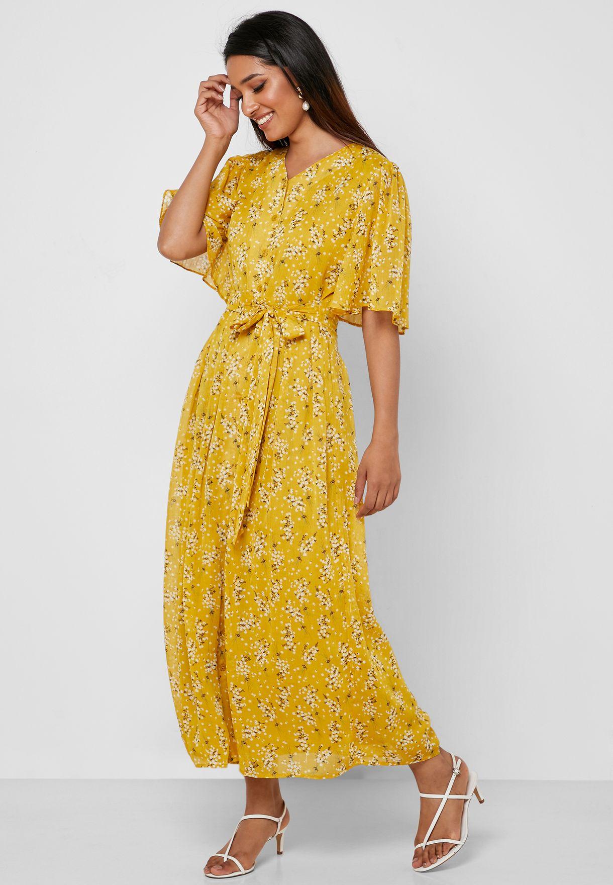 فستان مطبع بأربطة خصر