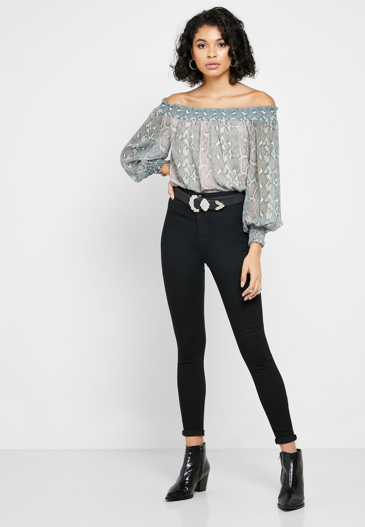 Snake Print Shirred Bardot Top