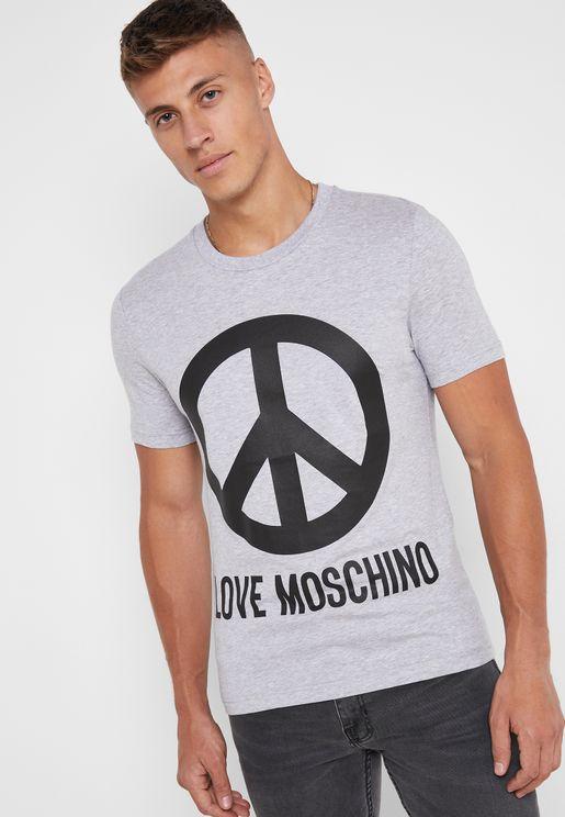 Peace Logo Crew Neck T-Shirt
