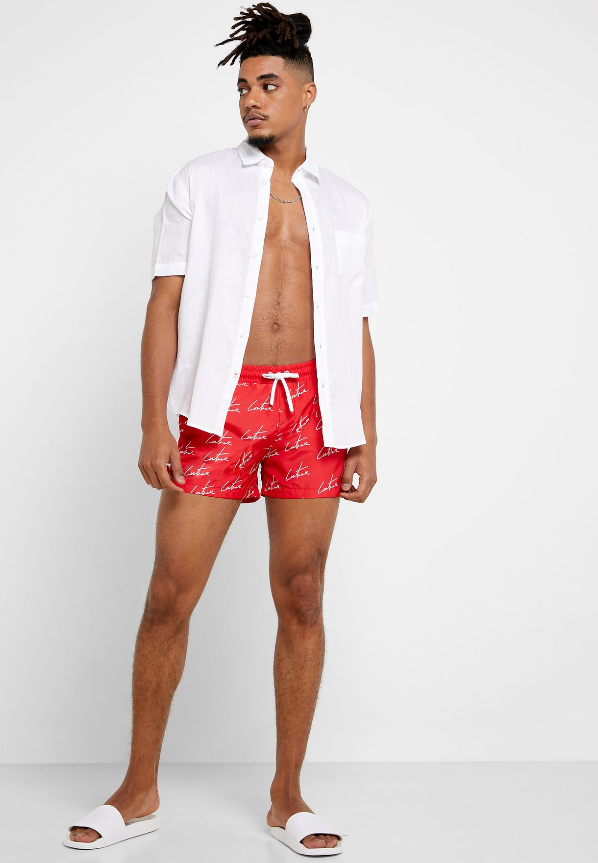 Repeat Print Contrast panel Swim Shorts