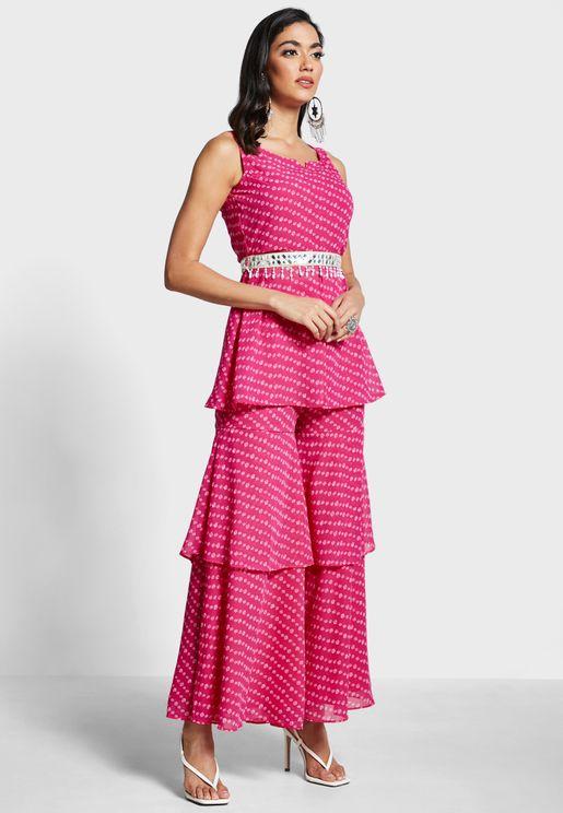 Pink Bandhani Layered Sharara Pants