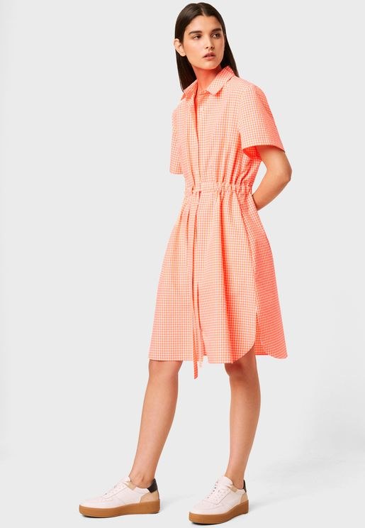 Rufara Tie Waist Gingham Shirt Dress