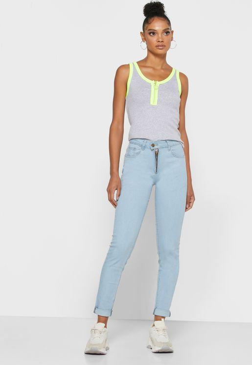 Exposed Zip Raw Hem Skinny Jeans