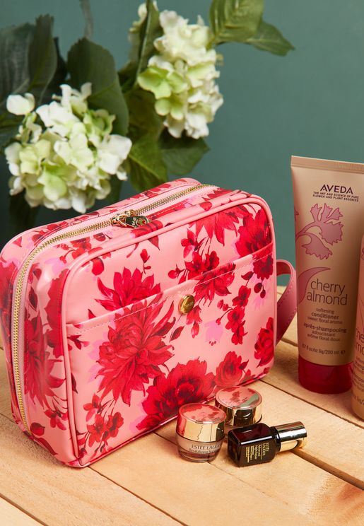 Floral Getaway Leather Toiletry Bag