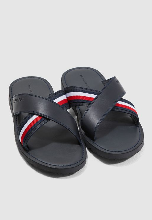 Criss Cross Leather Slides