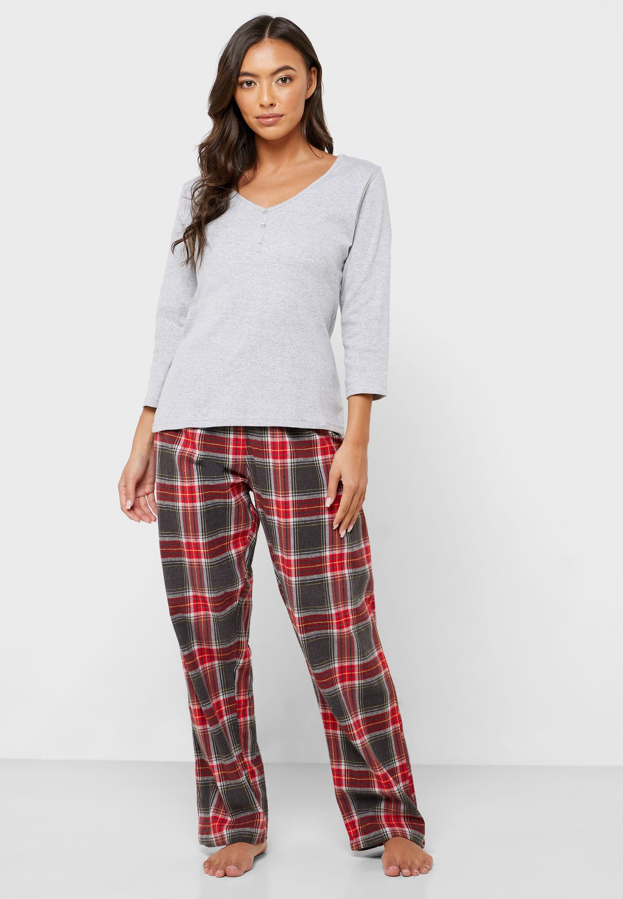 Checked Top & Pyjama Set