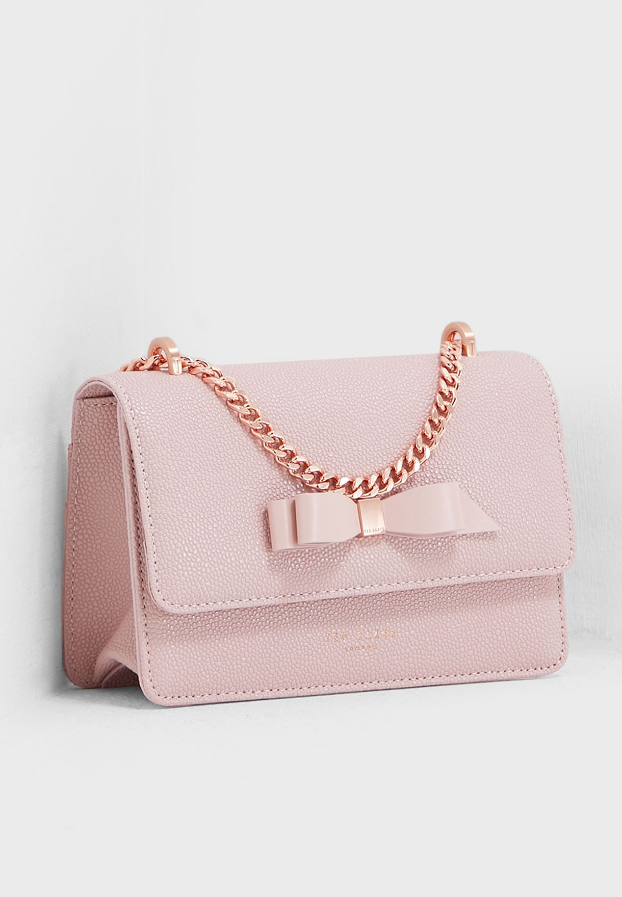 b0d3591b718 Shop Ted baker pink Jayllaa Bow Detail Micro Crossbody 151187 for ...