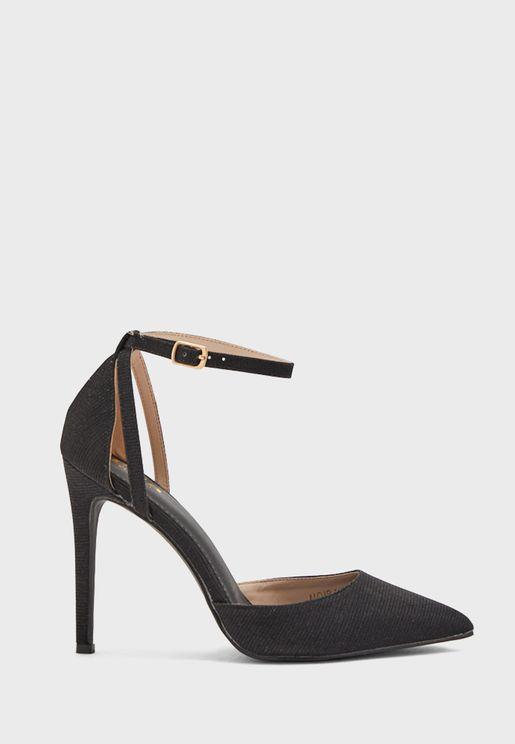 Shimmer Effect Ankle Strap Stiletto Pump