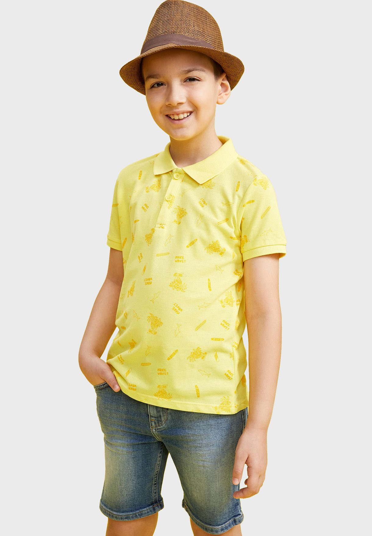 Kids Palm Print Polo