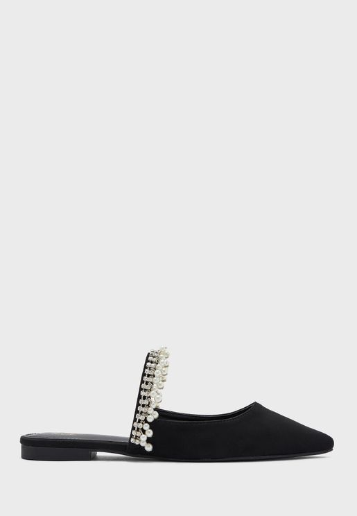 Diamante And Pearl Strap Pointed Backless Flat Shoe