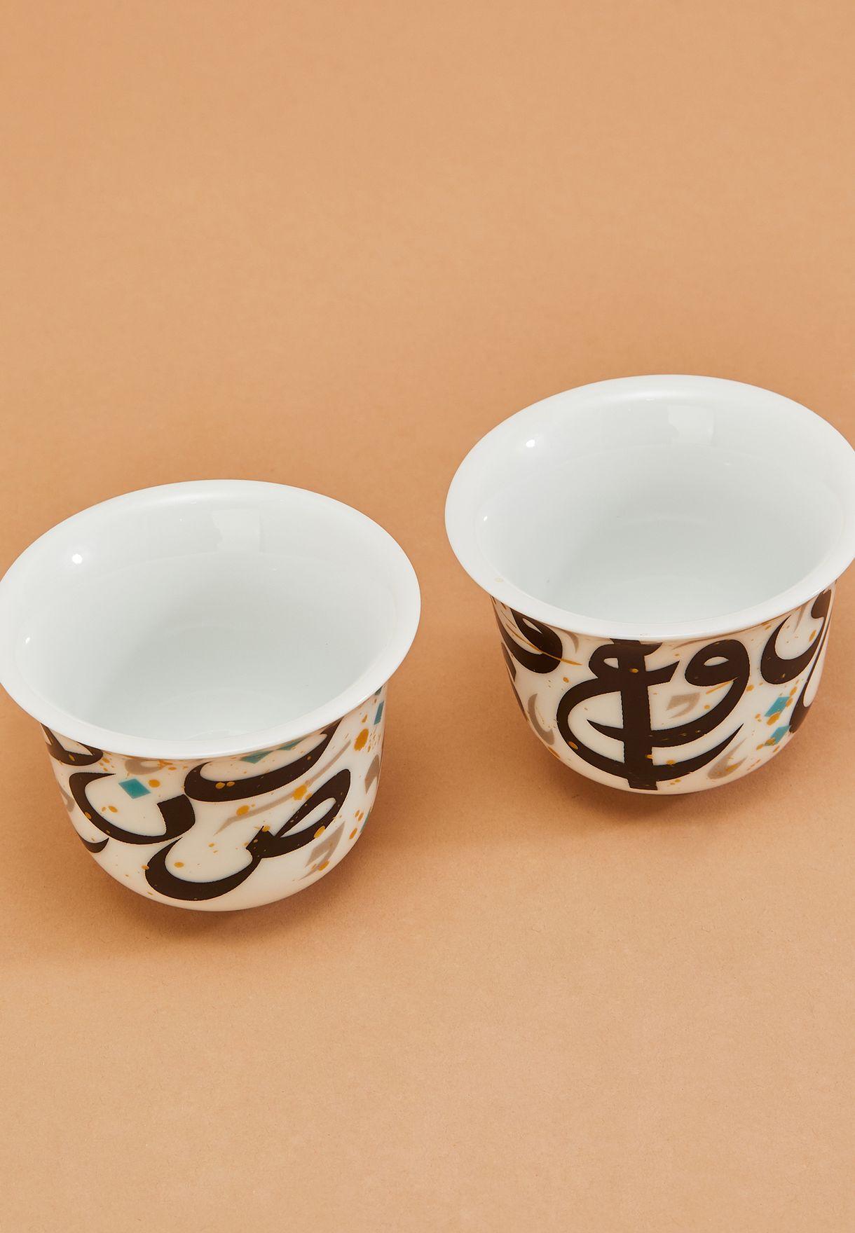 طقم 2 فنجان قهوة عربي طراطيش